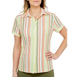 Alia Womens Striped Button Down Short Sleeve Top