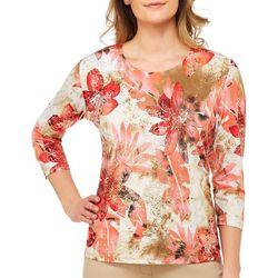 Alia Womens Tropical Floral Foil Top