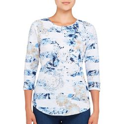 Alia Womens Embellished Floral Paisley Top