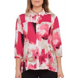 Alia Womens Floral Patch Button Down Top