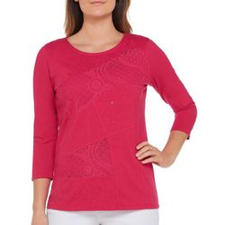 Alia Womens Embellished Lace Patch Top