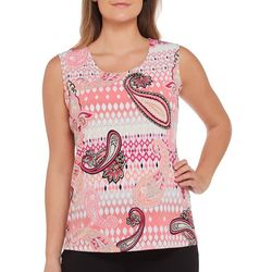 Alia Womens Ikat Paisley Print Sleeveless Top