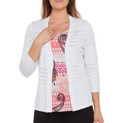 Alia Womens Open Front Shadow Stripe Cardigan