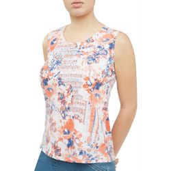 Alia Womens Embellished Mixed Floral Sleeveless Top