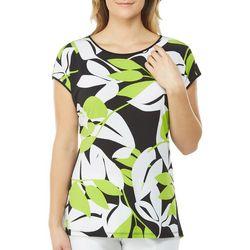 Alia Womens Leaf Print Cap Sleeve Top