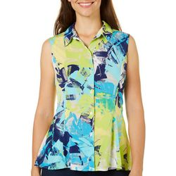 Alia Womens Tropical Button Down Top