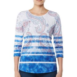Alia Womens Paisley Stripe Print Top
