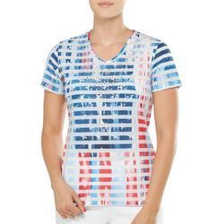 Alia Womens American Flag Striped Star Studded Top