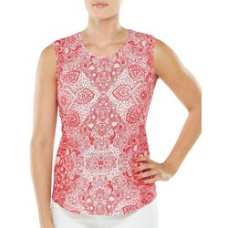Alia Womens Mixed Medallion Print Sleeveless Top