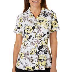 Alia Womens Floral Print Button Down Short Sleeve Top