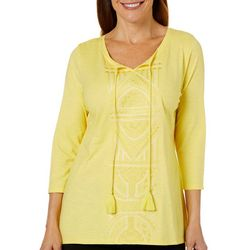 Alia Womens Embroidered Keyhole Tassel Top