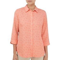 Alia Womens Medallion Print Button Down Top