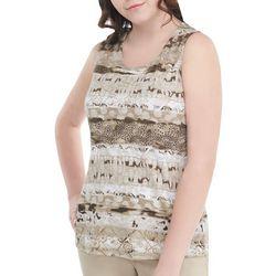 Alia Womens Embellished Mixed Animal Print Sleeveless Top