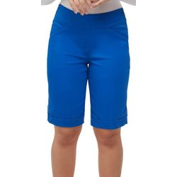 Alia Womens Solid Stretch Pull On Bermuda Shorts