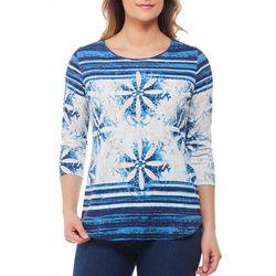 Alia Womens Floral Stripe Print Top