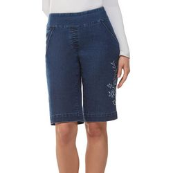 Alia Womens Embroidered Denim Pull On Bermuda Shorts