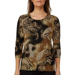 Alia Womens Embellished Scroll Print Top