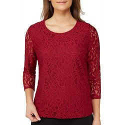 Alia Womens Lace Round Neck Top