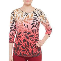Alia Womens Embellished Ombre Leaf Print Top
