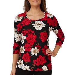 Alia Womens Textured Blooming Floral Top