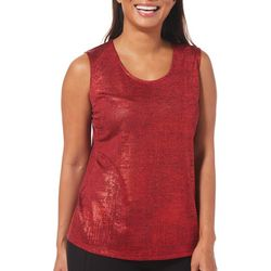 Alia Womens Shimmer Scoop Neck Sleeveless Top