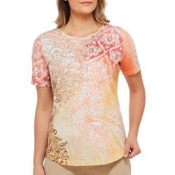 Alia Womens Embellished Floral Scroll Top