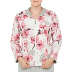 Alia Womens French Terry Floral Print Jacket