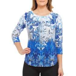 Alia Womens Embellished Brushstroke Scroll Print Top