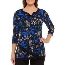 Alia Womens Scroll Print Asymmetrical Hem Tunic Top