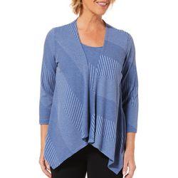 Alia Womens Textured Knit Duet Top