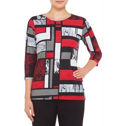 Alia Womens Mixed Patchwork Print Top