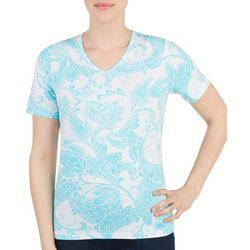 Alia Womens Paisley Print V- Neck Top