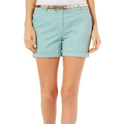 Juniper + Lime Womens Chloe Belted Solid Shorts