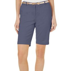 Juniper+ Lime Womens Laura Solid Belted Bow Shorts