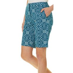 Juniper + Lime Womens Laura Medallion Print Bermuda Shorts