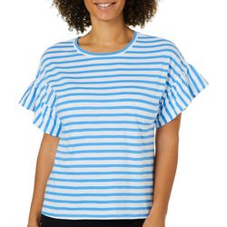 Juniper + Lime Womens Striped Ruffle Sleeve Top