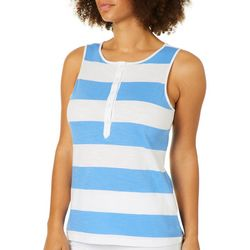Juniper + Lime Womens Henley Striped Sleeveless Top