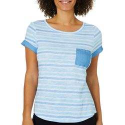 Juniper + Lime Womens Watercolor Stripes Chambray Pocket Top