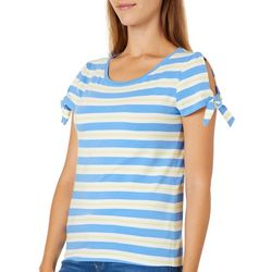 Juniper + Lime Womens Simple Striped Tie Sleeve Top