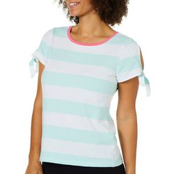 Juniper + Lime Womens Striped Slit Tie Sleeve Top