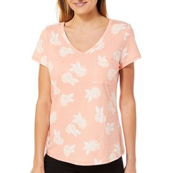 Juniper + Lime Womens Rose Print Pocket Top