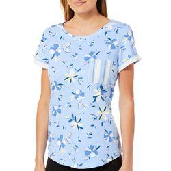 Juniper + Lime Womens Floral Print Striped Pocket Top