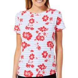 Juniper + Lime Womens Farewell Floral Striped Top
