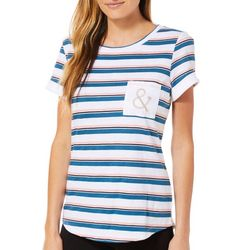 Juniper + Lime Womens Ahoy Striped Pocket Top