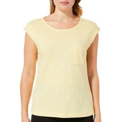 Juniper + Lime Womens Solid Cap Sleeve Pocket Top