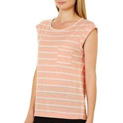 Juniper + Lime Womens Shimmery Striped Pocket Top