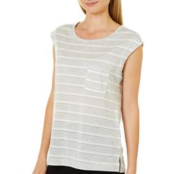 Juniper + Lime Womens Shimmery Striped Pocket Top