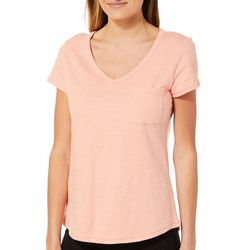 Juniper + Lime Womens Solid Pocket T-Shirt