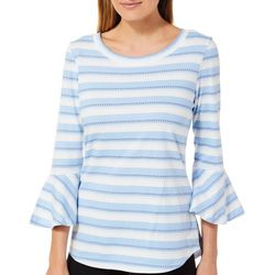 Juniper + Lime Womens Striped Bell Sleeve Top