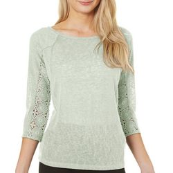 Juniper + Lime Womens Medallion Lace Top